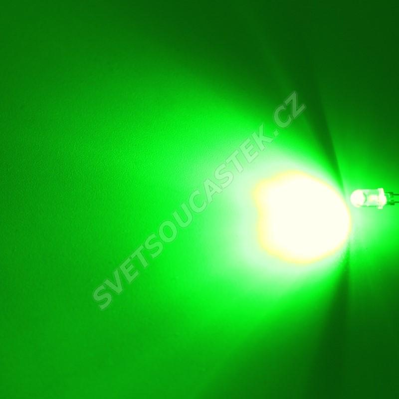 LED 5mm 0,5W zelená 10000mcd/90° čirá Hebei 05W580EGC