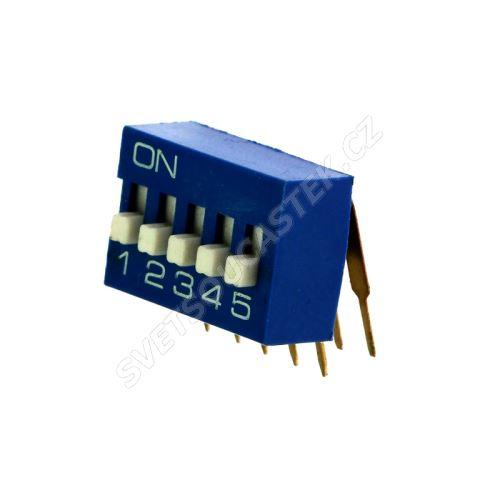 DIP přepínač stojatý 5pólový RM2.54 modrý Kaifeng KF1003-05PG-BLUE