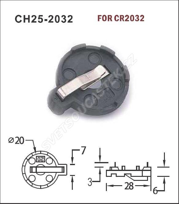 Držiak batérie do DPS pre CR2032 CH25-2032 COMF