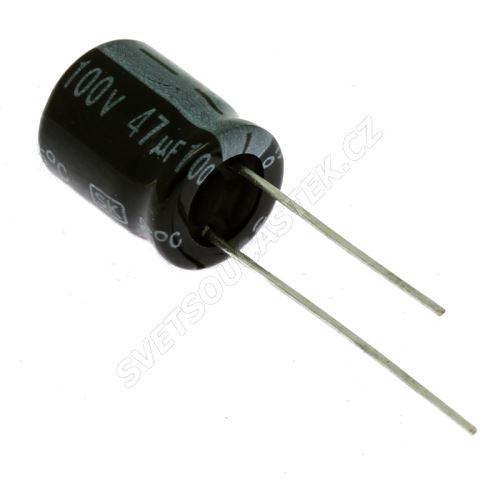 Elektrolytický kondenzátor radiální E 47uF/100V 10x13 RM5 85°C Jamicon SKR470M2AG13M
