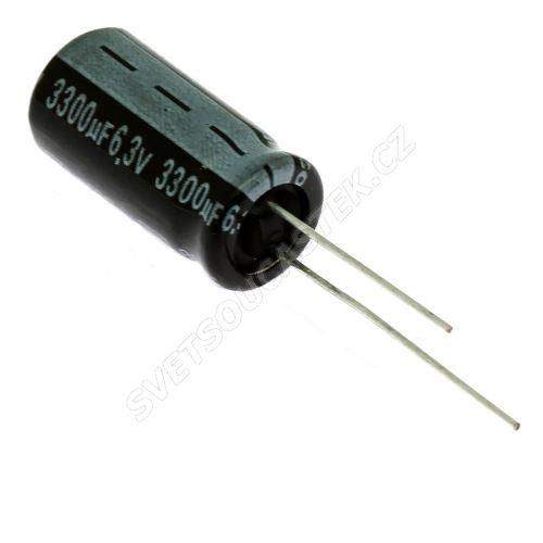 Elektrolytický kondenzátor radiální E 3300uF/6.3V 10x21 RM5 85°C Jamicon SKR332MOJG21M