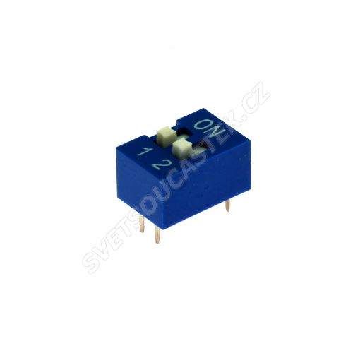 DIP přepínač 2pólový RM2.54 modrý Kaifeng KF1001-02PG-BLUE