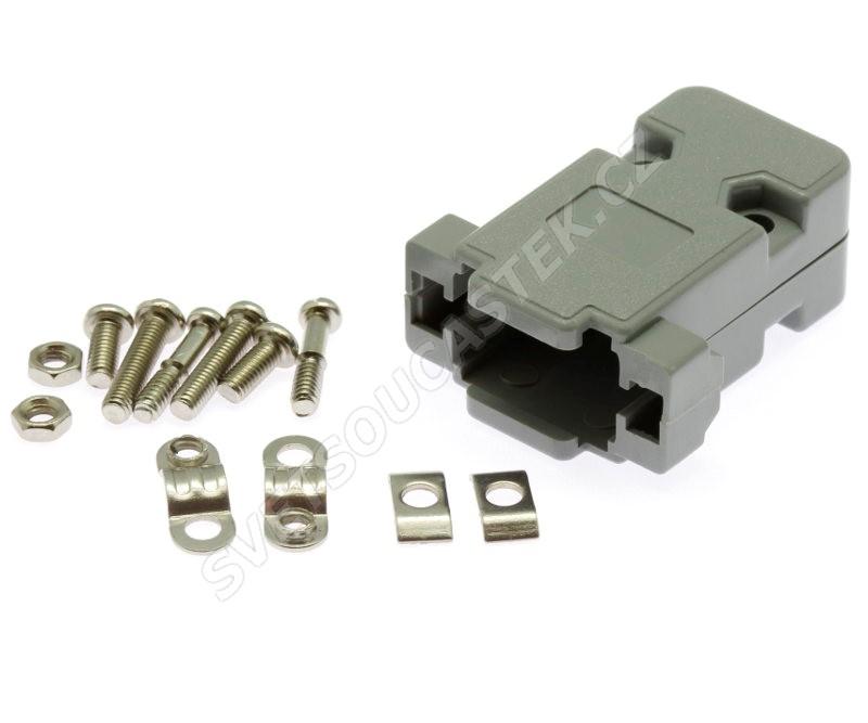 Kryt konektoru CANON 9 pinů plastový šedý  Xinya 158-09 P GT