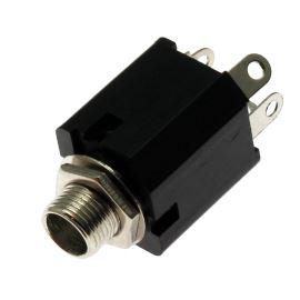 Zásuvka do panelu plastová pro Jack 6.3mm STEREO s vypínačem