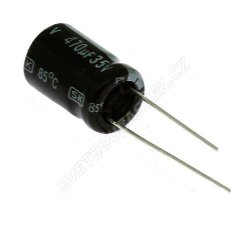 Elektrolytický kondenzátor radiální E 470uF/35V 10x16 RM5 85°C Jamicon SKR471M1VG16M