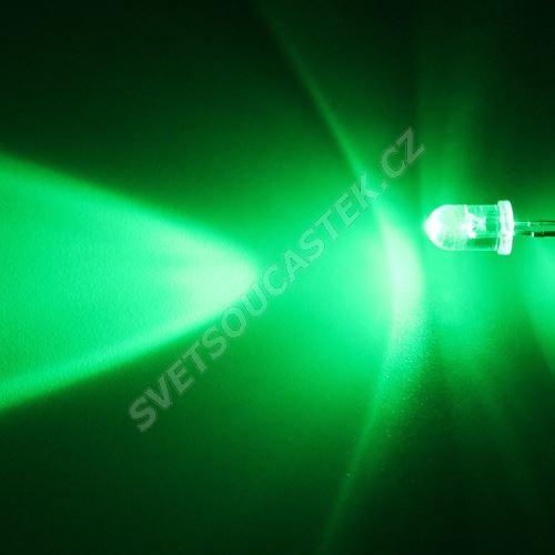 LED 5mm zelená 8000mcd/30° čirá Hebei 530VG2C