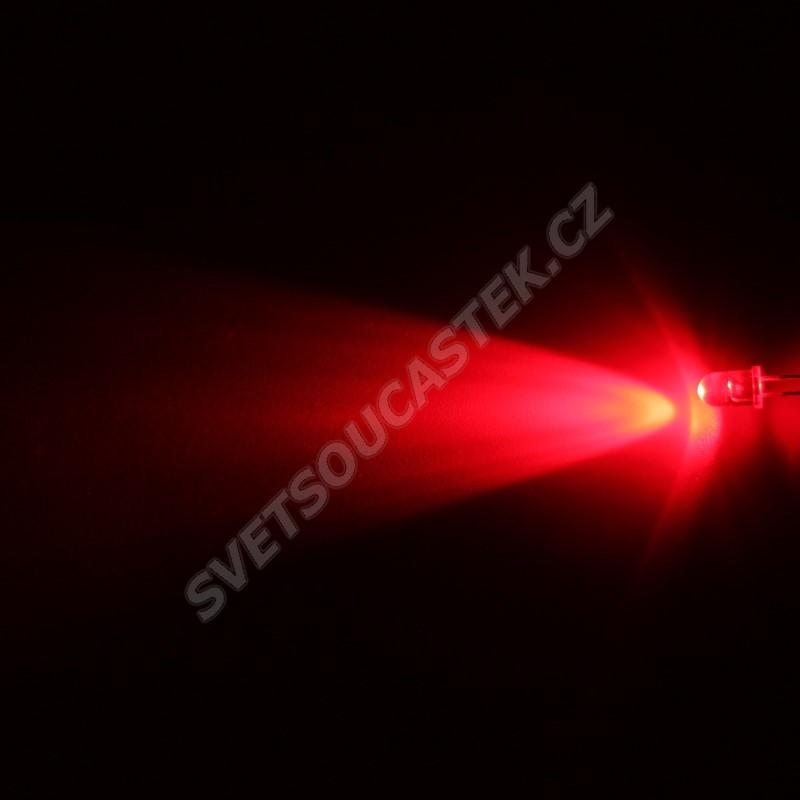 LED 5mm červená 6000mcd/30° čirá Hebei 530PR2C