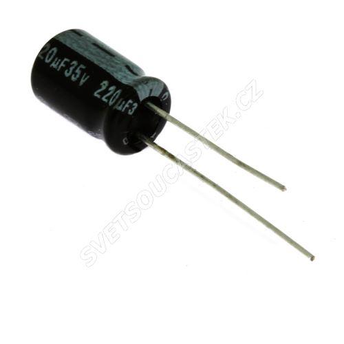 Elektrolytický kondenzátor radiální E 220uF/35V 8x11 RM3.5 85°C Jamicon SKR221M1VF11M