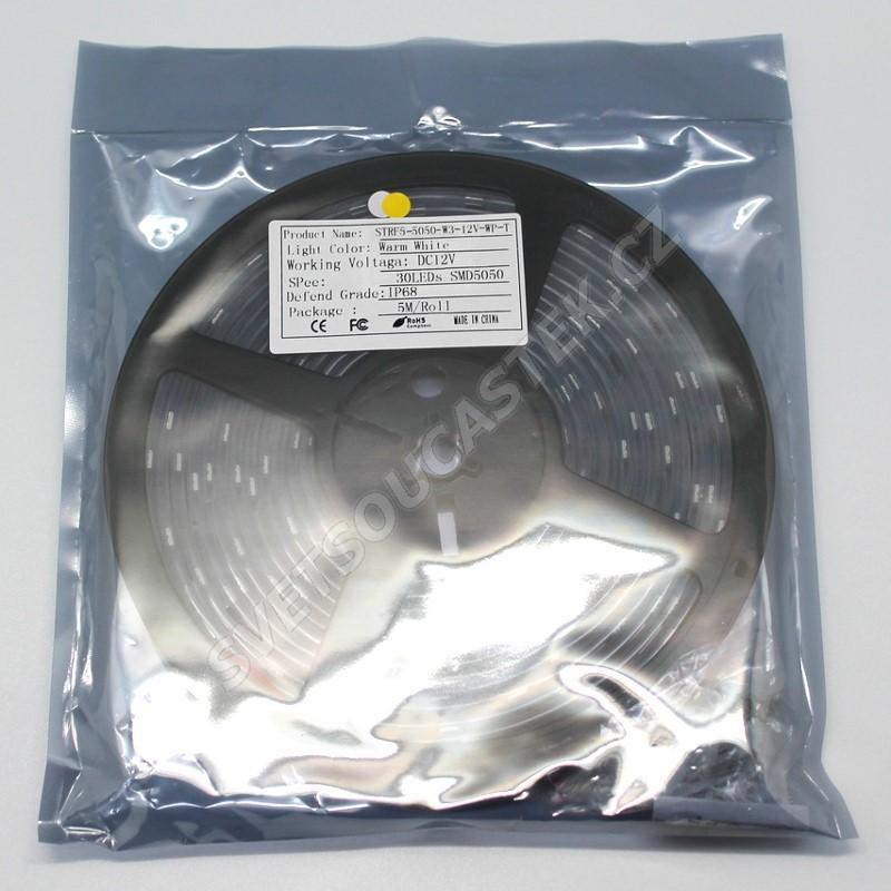LED pásek teplá bílá, SMD 5050, 30LED/m (balení 5m) - vodotěsný (silikon) STRF 5050-30-WW-IP66