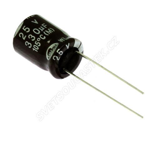 Elektrolytický kondenzátor radiální E 330uF/25V 10x12.5 RM5 105°C low ESR Samwha WL1E337M1012MBB