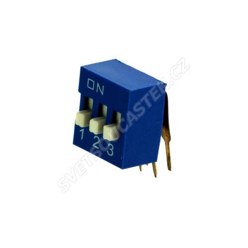 DIP přepínač stojatý 3pólový RM2.54 modrý Kaifeng KF1003-03PG-BLUE