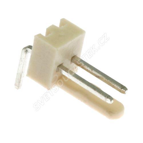 Konektor se zámkem 2 piny (1x2) do DPS RM2.54mm úhlový 90° pozlacený Xinya 137-02 R G