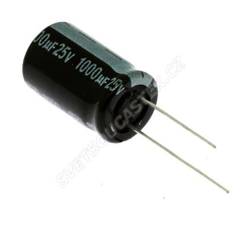 Elektrolytický kondenzátor radiální E 1000uF/25V 13x21 RM5 85°C Jamicon SKR102M1EJ21M