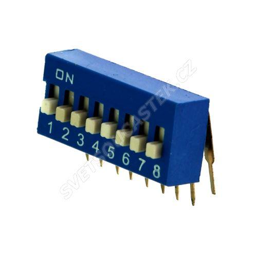 DIP přepínač stojatý 8pólový RM2.54 modrý Kaifeng KF1003-08PG-BLUE