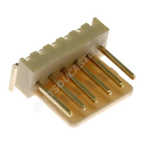 Konektor se zámkem 6 pinů (1x6) do DPS RM2.54mm úhlový 90° pozlacený Xinya 137-06 R G