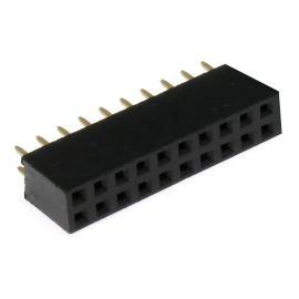 Dutinková lišta dvouřadá 2x10 pinů RM2.54mm pozlacená přímá Xinya 114-A-D S 20G [D 5.7mm]