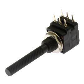 Potenciometr uhlíkový 16mm 0.1W logaritmický STEREO 10k Ohm horizontální 20% Piher PC16DH10IP06-103B2020-TA