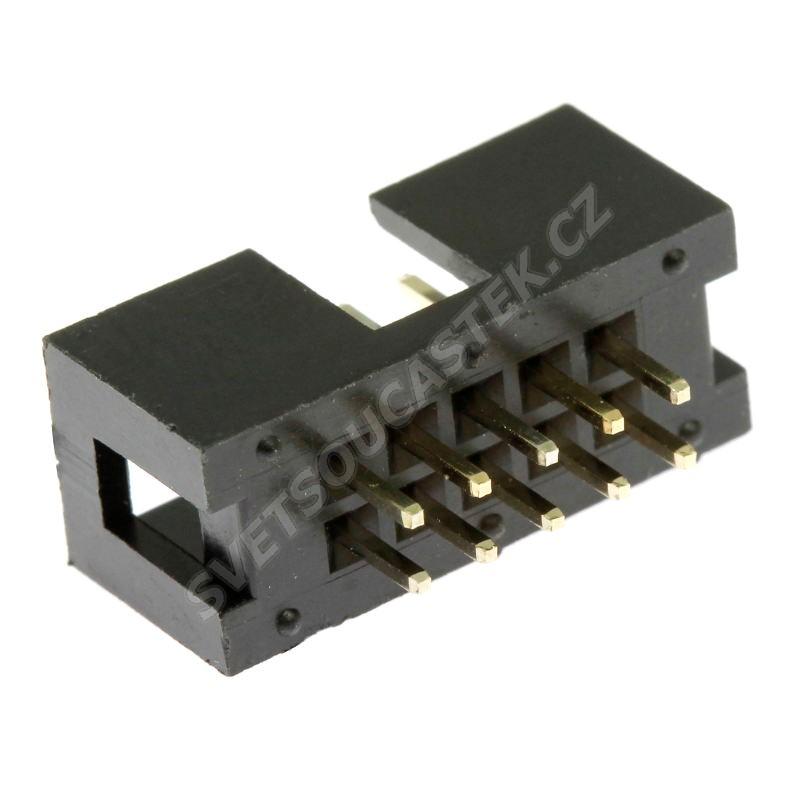 Konektor IDC pro ploché kabely 10 pinů (2x5) RM2.54mm do DPS přímý Xinya 118-A 10 G S K