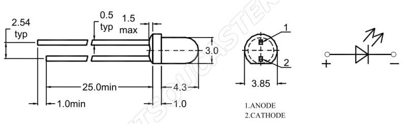 LED 3mm červená 580mcd/25° difúzní Wenrun LUE30240