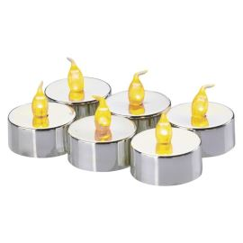 LED čajová svíčka stříbrná ZY2150 6x a 6x CR2032 baterie SADA