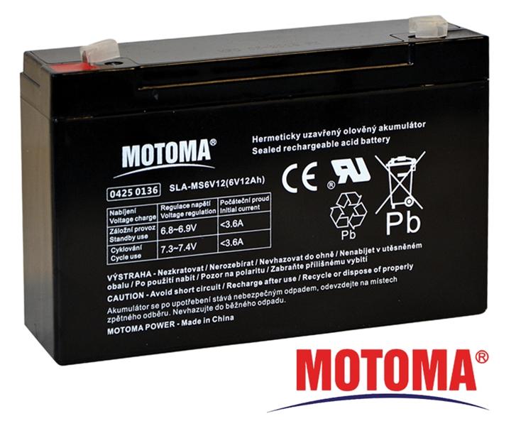MOTOMA Baterie olověná 6V/12Ah bezúdržbový akumulátor