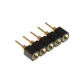 Dutinková lišta jednořadá 5 pinů RM2.54mm pozlacená precizní přímá Xinya 131-S-05-05