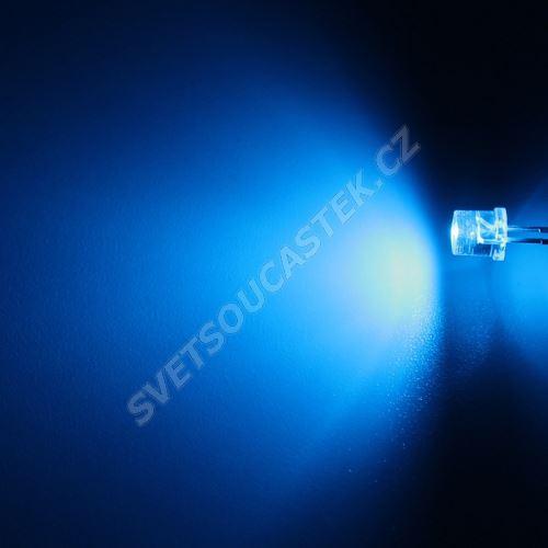 LED 5mm modrá 390mcd/100° čirá Hebei 599PB6C