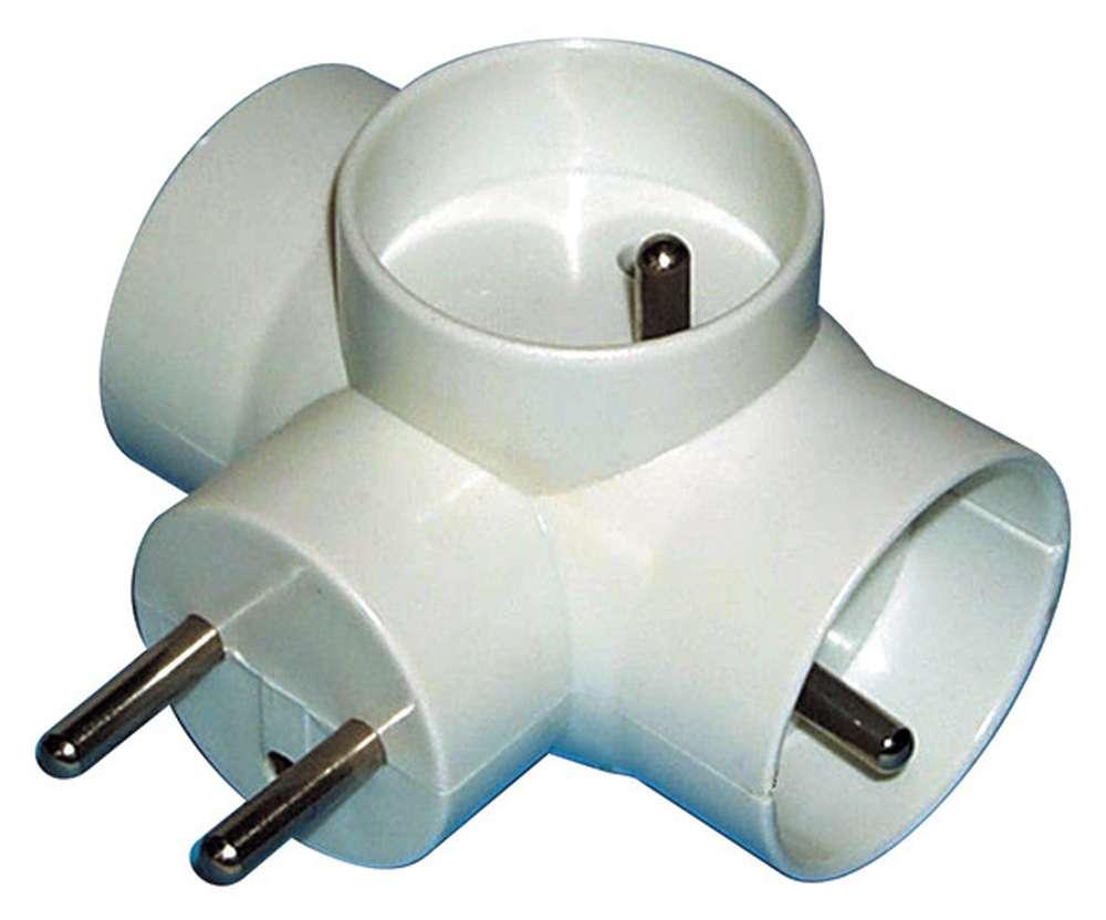Emos Rozbočovací zásuvka trojnásobná kulatá bílá 250V / 10A