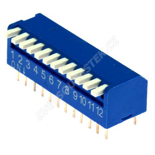 DIP přepínač PIANO 12pólový RM2.54 modrý Kaifeng KF1002-12PG-BLUE