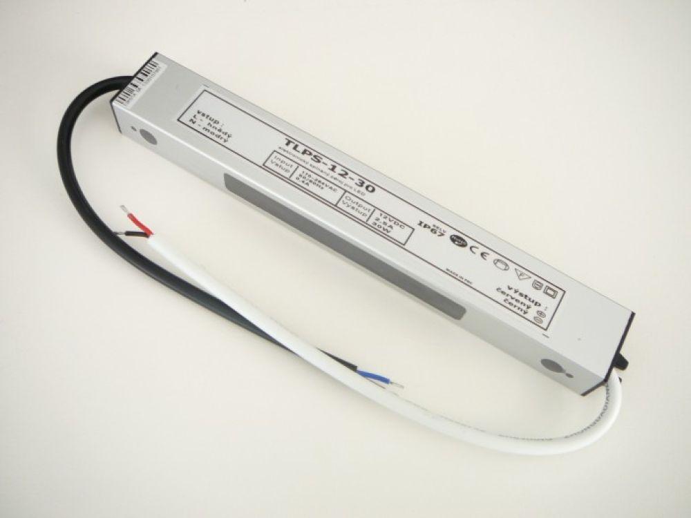 T-led LED napájecí zdroj 12V 30W pro LED pásky - voděodolné trafo 2,5A IP67 05103
