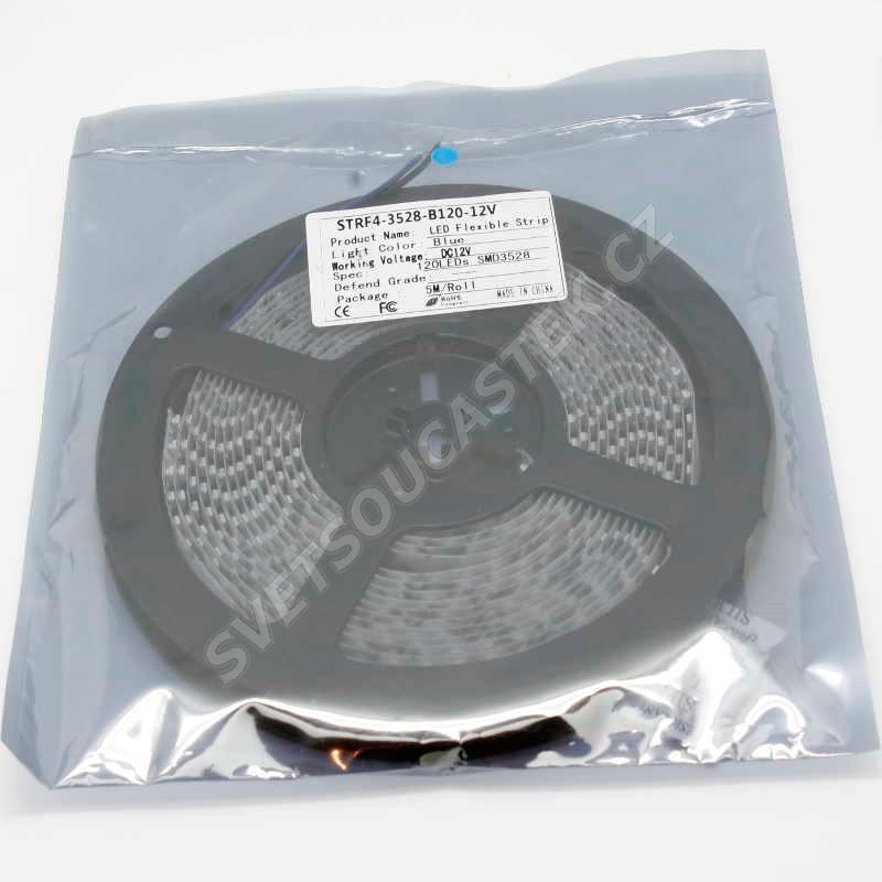 LED pásek modrá délka 1 metr, SMD 3528, 120LED/m - nevodotěsný Hebei STRF4-3528-B120-12V