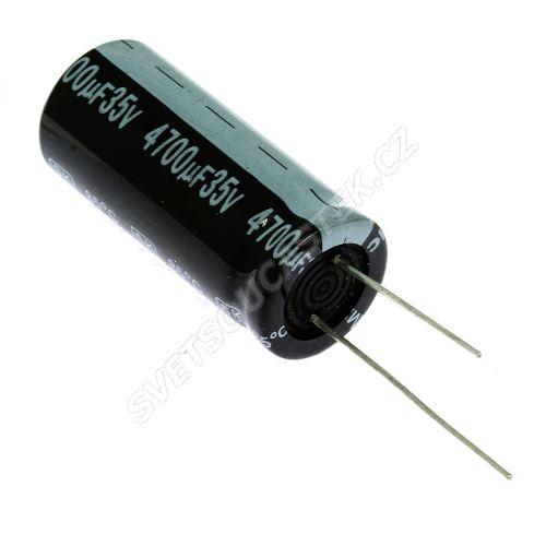 Elektrolytický kondenzátor radiální E 4700uF/35V 18x42 RM7.5 85°C Jamicon SKR472M1VL42M
