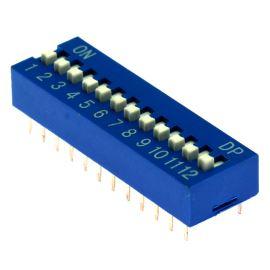 DIP přepínač 12pólový RM2.54 modrý Kaifeng KF1001-12PG-BLUE