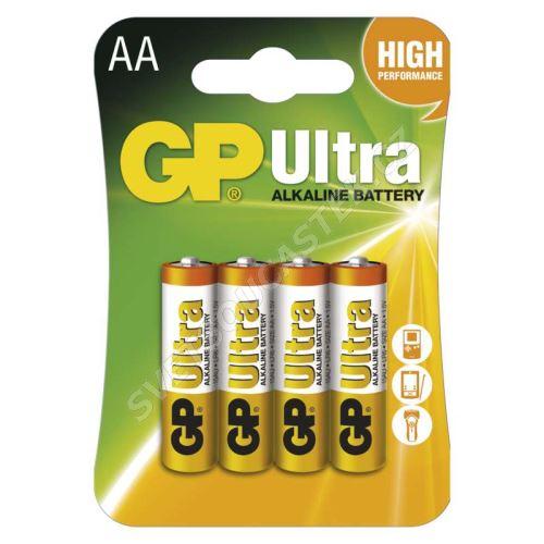 Alkalická baterie GP Ultra LR6 (AA), 4 ks v blistru