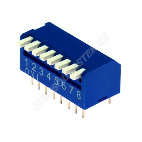 DIP přepínač PIANO 8pólový RM2.54 modrý Kaifeng KF1002-08PG-BLUE