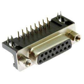 Konektor CANON 15 pinů zásuvka do DPS úhlová 90° Xinya 107-15 S C K A B
