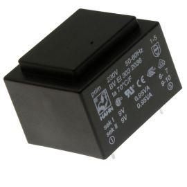 Trasnformátor do DPS 1.9VA/230V 2x9V Hahn BV EI 303 2036