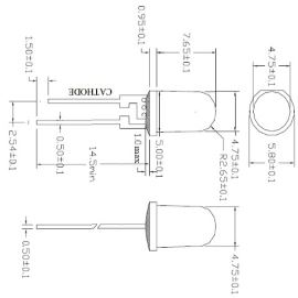 LED 5mm 0,5W modrá 5000mcd/90° čirá Hebei 05W580BBC