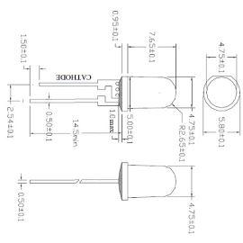 LED 5mm 0,5W teplá bílá 8000mcd/90° čirá Hebei 05W580EW3C