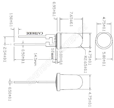 LED 5mm 0,5W žlutá 6500mcd/90° čirá Hebei 05W580CYC