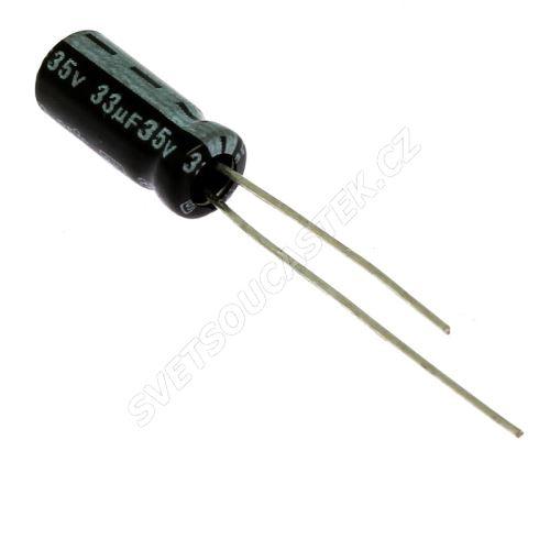 Elektrolytický kondenzátor radiální E 33uF/35V 5x11 RM2 85°C Jamicon SKR330M1VD11M