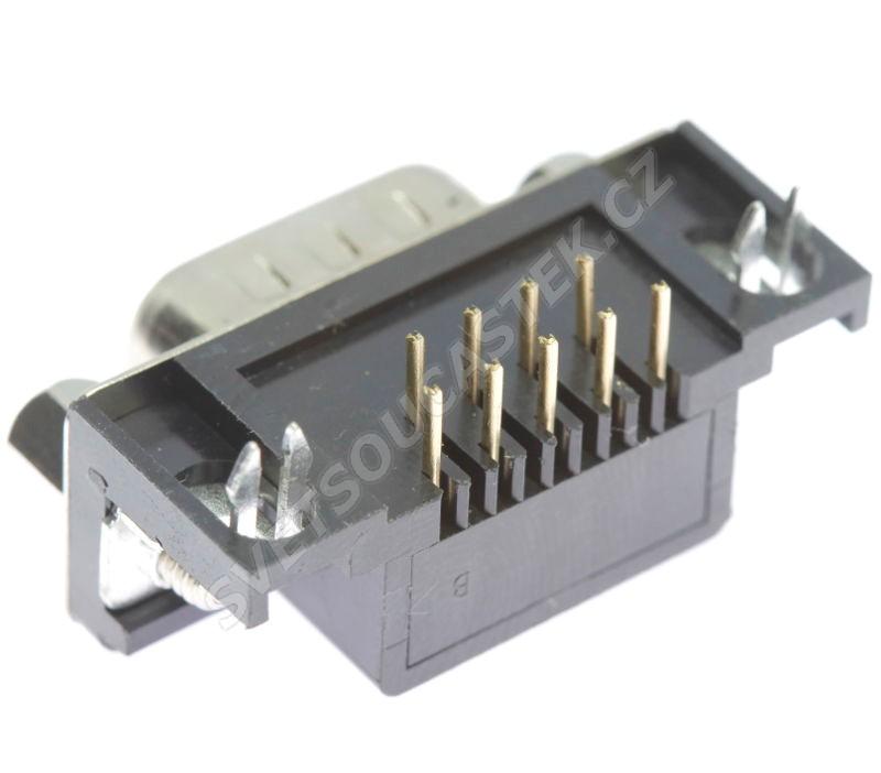 Konektor CANON 9 pinů vidlice do DPS úhlová 90° Xinya 107-09 P C K A B
