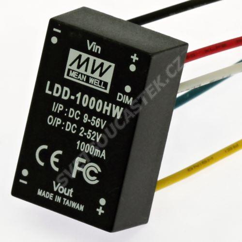 DC/DC LED driver s drátovými vývody (2-52V/1000mA) Mean Well LDD-1000HW