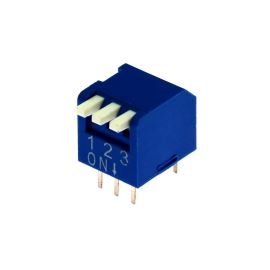 DIP přepínač PIANO 3pólový RM2.54 modrý Kaifeng KF1002-03PG-BLUE