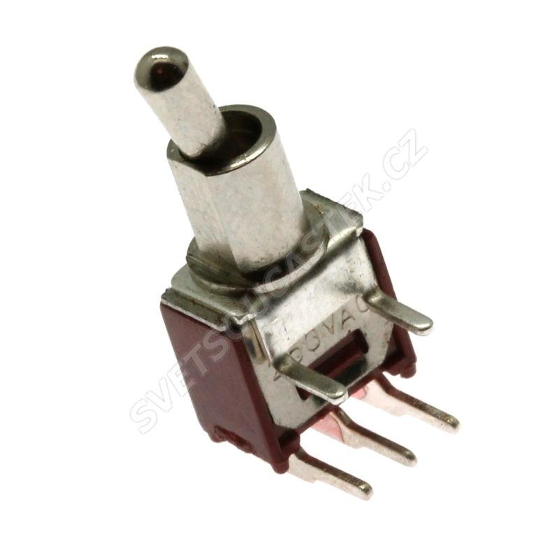 Páčkový spínač do DPS úhlový přepínací 1-pólový ON-ON 3/1.5A 125/250V AC Jietong  SMTS-102-2C3