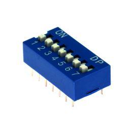 DIP přepínač 7pólový RM2.54 modrý Kaifeng KF1001-07PG-BLUE