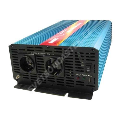 Měnič napětí do auta 24V/230V 2000W (čistý sinus) + USB CARSPA