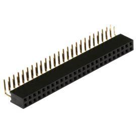 Dutinková lišta dvouřadá 2x25 pinů RM2.54mm pozlacená úhlová 90° Xinya 114-A-D R 50G