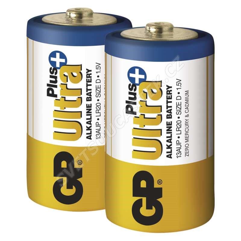 Alkalická baterie GP Ultra Plus LR20 (D), 2 ks v blistru