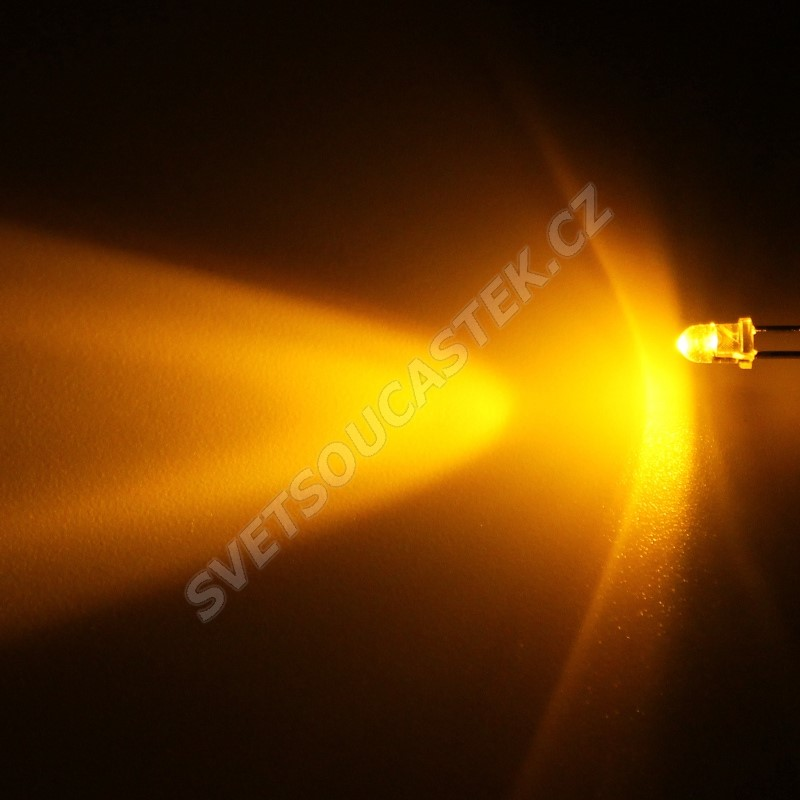 LED 3mm žlutá 3000mcd/30° čirá Hebei 330MY8C